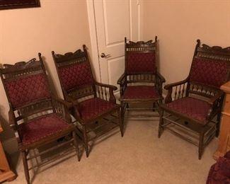 Victorian walnut armchair set $50
