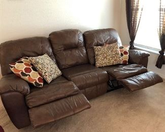 Brown Faux-leather 3-seat Reclining Sofa w/attached cushions - $325