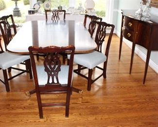 "HICKORY CHAIR  Richmond, Custom Classic James River double pedestal dining table with two - 22"" leaves."