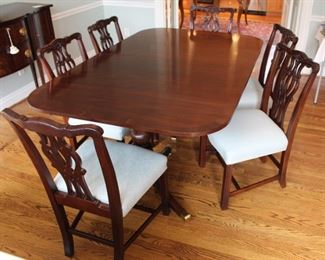 "You can have this beautiful HICKORY WHITE CO. dining table with Chippendale chairs in time for the holidays!  Measures:  46""W X 72""L, with 2- 22"" x 46"" leaves, total length 116"""