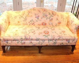 "Chippendale style, camel back floral sofa 75"" wide"