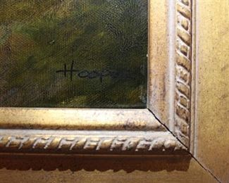 Signature on hunt painting Hoope.
