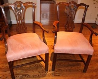 Pair of Chippendale style arm chairs.