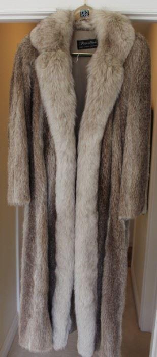 Nutria & fox collared fur coat.