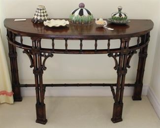 "Large Asian style demilune shown with Mackenzie Childs decorator items.  Measures: 48"" W x 18"" D x 30"" in height."