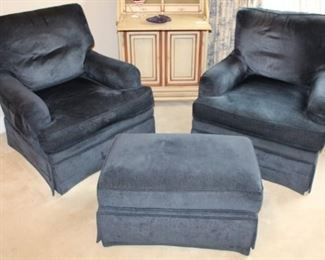 Pair of navy chairs with ottoman.