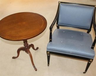 Tilt top table shown with directoire chair.
