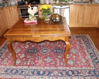 "French country farm table measures 39 1/2"" W x 47 1/2"" L ( with leaves extended on each end)  length is 89 1/2"" L."