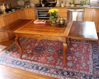 "French country farm table 39 1/2"" W x 47 1/2"" L, with leaves extended on each end, length is 89 1/2"" L"