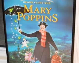 Framed Walt Disney Mary Poppins poster.