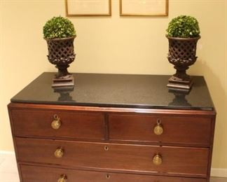 "Georgian splay leg w/black marble top chest of drawers 24""D x 51""W x 35 1/2"" H."