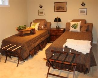 Guest bedroom shown with Ralph Lauren twin beds, bedding, end table and more.