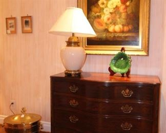 Baker Historic Charleston, serpentine, Chippendale style with beautiful fretwork chest of drawers.