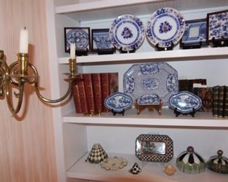 Beautiful blue and white china and tiles, and Mackenzie Child's items.