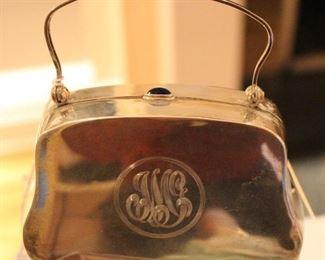 "Sterling monogrammed evening ""handbag"".  Wonderful gift piece."