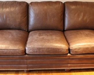 "Top of the line! Hancock Moore Bryan brown leather sofa. Measures 84"" wide with silver toned tacks."
