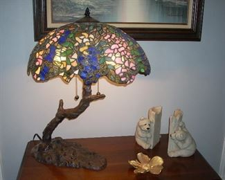 Tiffany Style Table Lamp, Quarry Critters Bookends