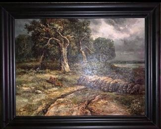 $300 LARGE SHEEP THICK OIL PAINTING