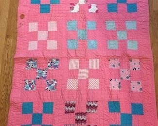 Hand stitched baby quilt