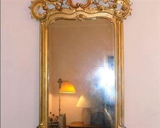 Amazing Gold Gilded Antique Mirror.