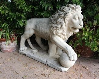 "Pair of Early 20th Century Large 36"" Lions."