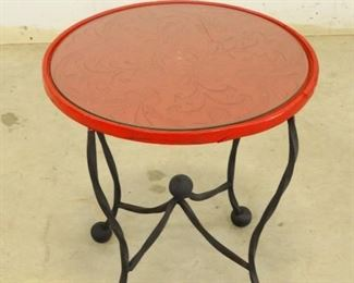 Red Carved Side Table