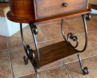 Small Iron Scroll & Wood Console table/Stand27x24x14inHxWxD