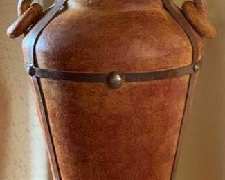 Lg Ceramic/Iron Floor Vase