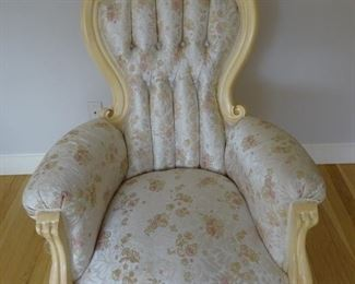Victorian style chair, part of lounge suite with 2 chairs and 1 three seater sofa.