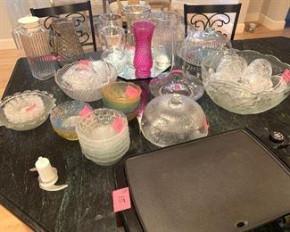 New Glass bowls, punch set &  glass jugs