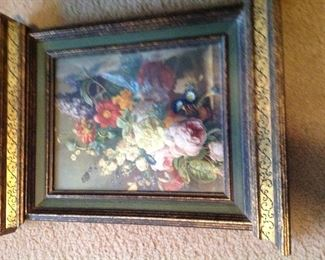 Vintage framed floral print, has extra molding