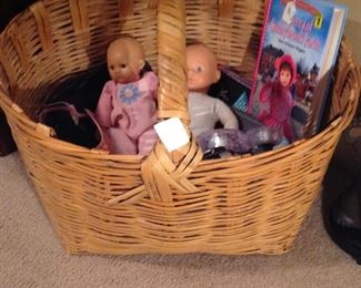 Old large basket with handle and toys