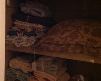 Linens, sheets, pillows, and towels