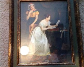 Vintage unusually framed print, note added molding with returns on top and bottom of frame