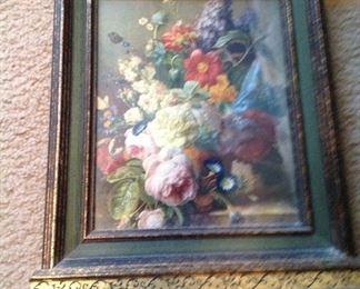 Unusually framed floral print