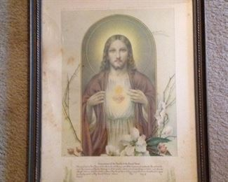 Beautiful old framed Scared Heart of Jesus print.