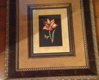 Framed and matted floral