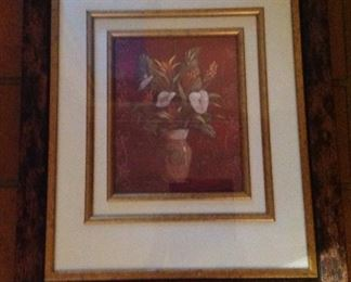 Another floral print framed and matted