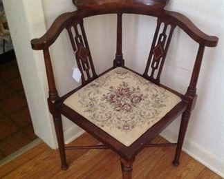Very nice corner chair with needlepoint seat!