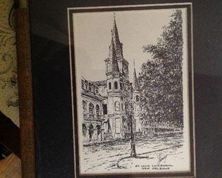 Pen and ink framed