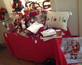 Christmas decor, napkins, tablecloths, placemats, candles, dishes, glasses, pillows and much more
