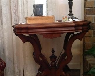 Antique table with marble top insert