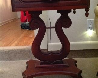 Marble top lyre side table with drawer