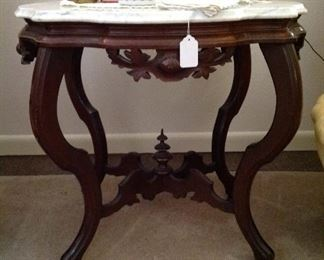 Beautiful old antique oval marble top table