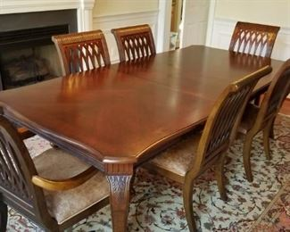 dining room set by Bernhardt (table w/ 6 leather seat chairs, 2 leaves, china cabinet & server)