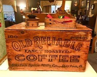 Old Reliable wooden coffee box, coffee grinder, wooden box with handle, glass fruit