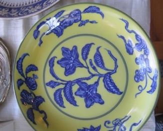 YELLOW AND BLUE PLATE BY MOTTAHEDEH