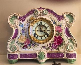 Porcelain mantle clock from the home of a magical unicorn