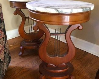 Marble top end tables made from heavenly harps