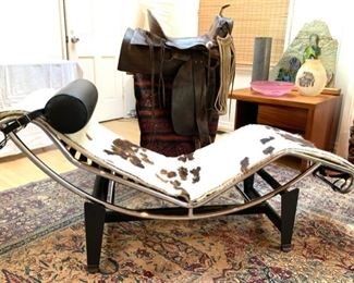 """Vintage 1968 Le Corbusier """"LC4"""" style Lounge Chair and Antique Saddle"""